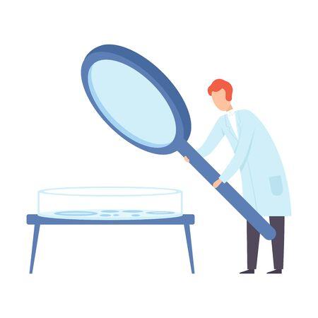 Scientist holds a giant luppa. Vector illustration. Иллюстрация
