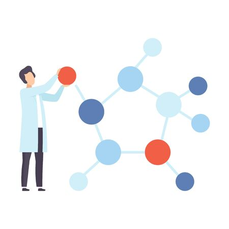 Scientist next to a molecule model. Vector illustration.