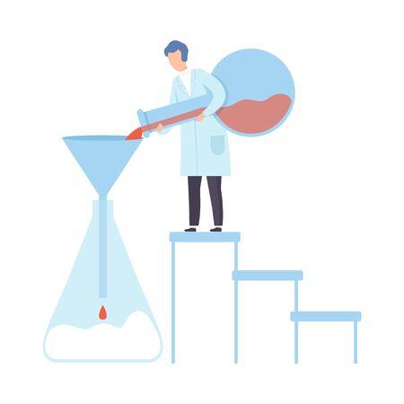 Scientist pours red liquid into a huge flask. Vector illustration. Çizim