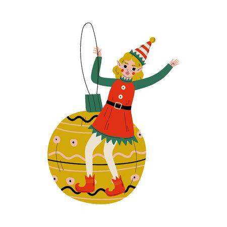 Christmas Elf Character Sitting on Bauble Ball, Cute Girl Santa Claus Helper Vector Illustration