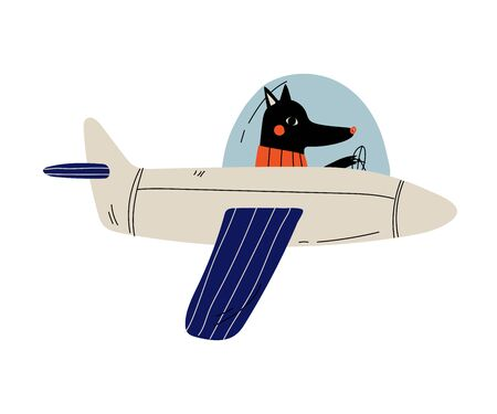 Pilote de chien noir volant sur un avion rétro dans le ciel, personnage animal mignon pilotant l'illustration vectorielle d'avion Vecteurs