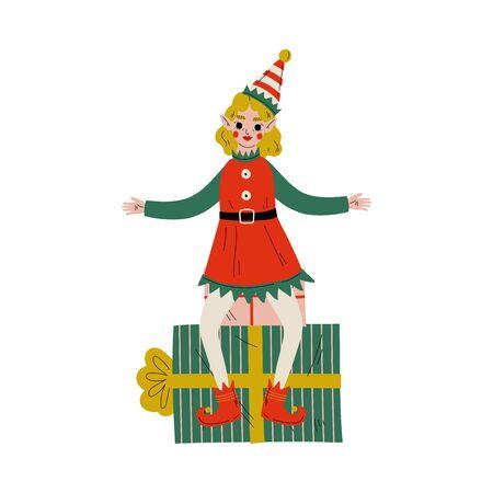 Christmas Elf Character Sitting on Gift Box, Cute Girl Santa Claus Helper Vector Illustration