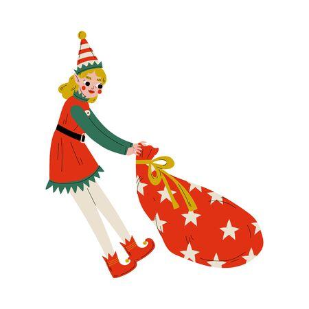 Christmas Elf Character Pulling Bag Full of Gifts, Cute Girl Santa Claus Helper Vector Illustration Illustration