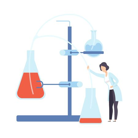 Female scientist directs the hose to the flask. Vector illustration.
