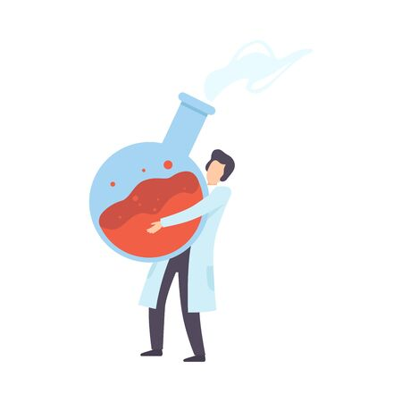 Male scientist carries a flask. Vector illustration. Stock Illustratie
