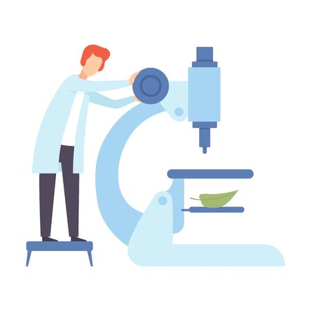 Scientist sets up a huge microscope. Vector illustration.