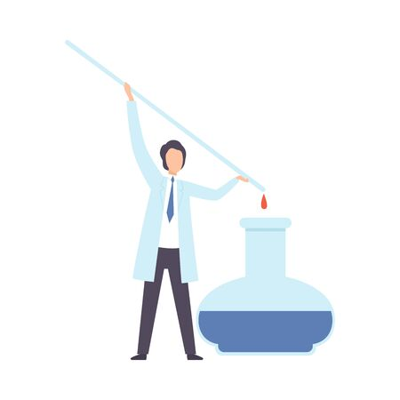 Scientist drips from a glass stick into a flask. Vector illustration.