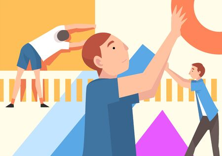 People Organizing Colorful Abstract Geometric Shapes, Young Men Holding Different Figures Vector Illustration