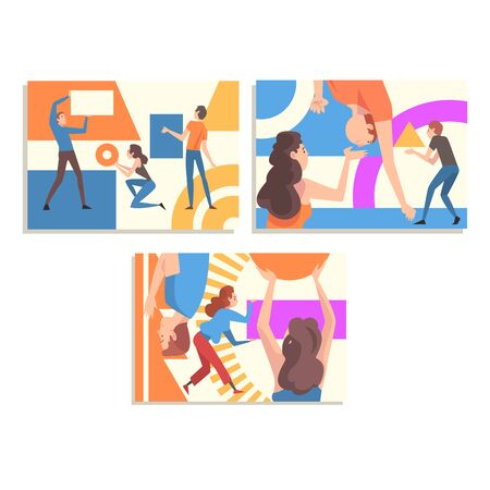 Collection of People Organizing Colorful Abstract Geometric Shapes, Men and Women Holding and Arranging Different Figures Vector Illustration, Web Design.