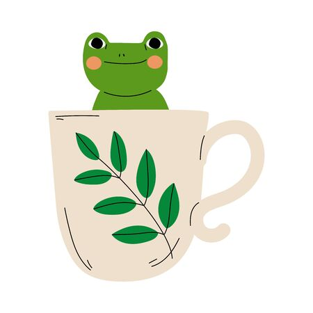 Cute Frog in Teacup, Adorable Little Amphibian Animal Sitting in Coffee Mug Cartoon Vector Illustration on White Background.