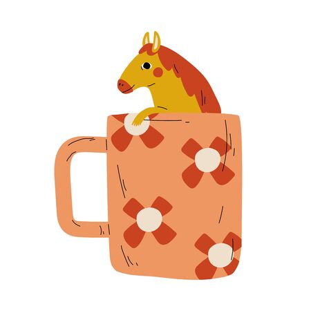 Cute Horse in Teacup, Adorable Little Pony Animal Sitting in Coffee Mug Cartoon Vector Illustration on White Background. Illustration