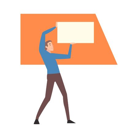 Young Man Holding and Organizing Abstract Rectangular Geometric Shapes Vector Illustration  イラスト・ベクター素材