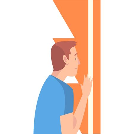 Young Man Holding and Organizing Abstract Geometric Shapes Vector Illustration  イラスト・ベクター素材