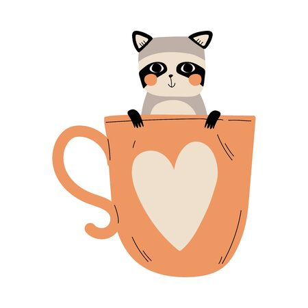 Cute Raccoon in Teacup with Heart, Adorable Little Cartoon Animal Character Sitting in Coffee Mug Vector Illustration