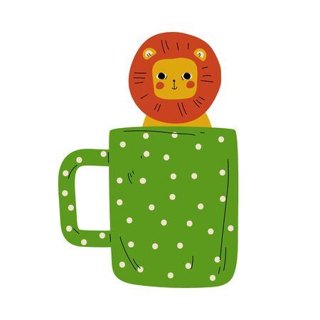 Cute Lion in Green Dotted Teacup, Adorable Little Cartoon Animal Character Sitting in Coffee Mug Vector Illustration