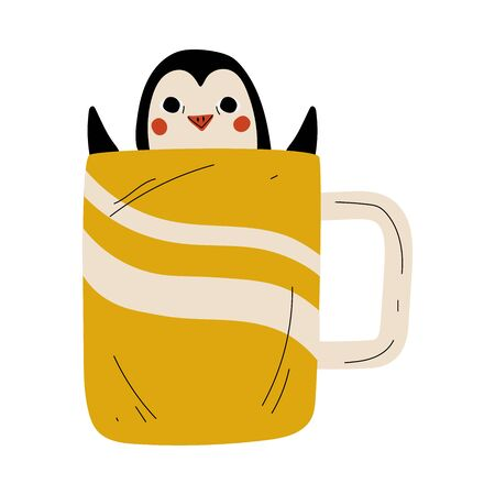 Cute Penguin in Yellow Teacup, Adorable Little Cartoon Animal Character Sitting in Coffee Mug Vector Illustration