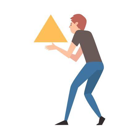 Young Man Organizing Abstract Triangular Geometric Shape Vector Illustration  イラスト・ベクター素材