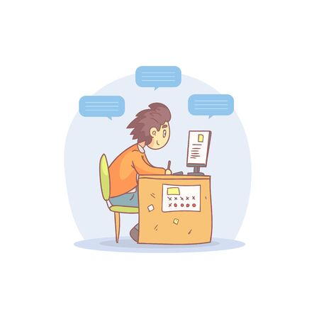 Young Man Working with Laptop Computer with Speech Bubbles Cartoon Vector Illustration on White Background.