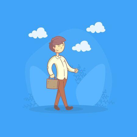 Businessman Walking with Briefcase, Man Daily Activity Cartoon Vector Illustration, Web Design.