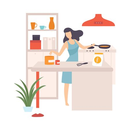 Woman is cooking in a pan. Vector illustration.