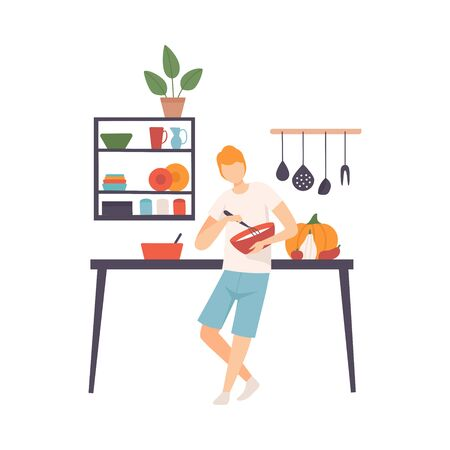 Man with a whisk and a bowl in his hands in the kitchen. Vector illustration. Illustration