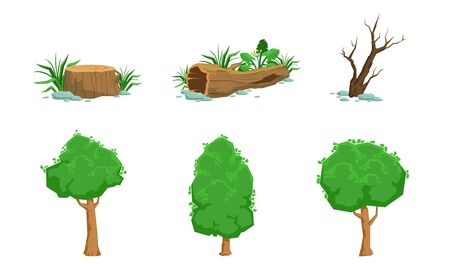 Nature Landscape Elements Set, Green and Dead Trees Vector Illustration