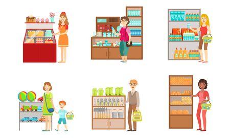 Persone che acquistano al supermercato, uomini e donne che acquistano cosmetici, generi alimentari, giocattoli, attrezzature da giardino, centro commerciale, centro, interni, vettore, illustrazione Vettoriali