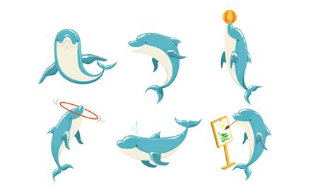 Funny Dolphins Set, Cute Ocean Mammals Performing Tricks Vector Illustration Stock Illustratie