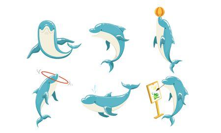 Funny Dolphins Set, Cute Ocean Mammals Performing Tricks Vector Illustration Illustration