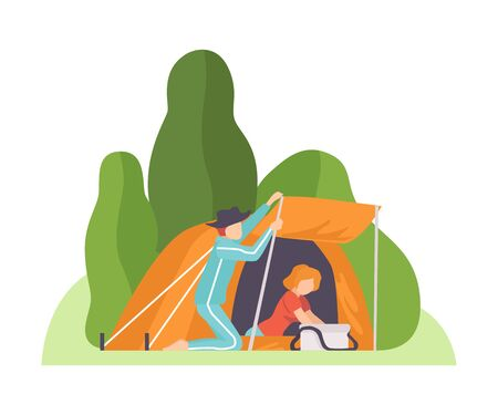 Man sets up a canopy at the entrance to an orange tent. Woman is looking for something in a bag. Vector illustration.
