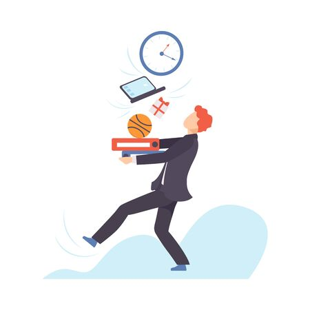 Man in a suit carries a large stack of different objects. Vector illustration. Ilustração