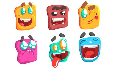 Funny Colorful Monsters Set, Slime Cartoon Characters with Different Emotions Vector Illustration on White Background. Ilustrace
