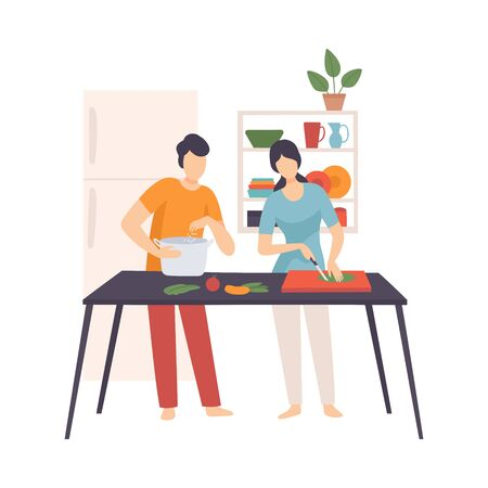 Man and woman cook in the kitchen. Vector illustration. Illustration