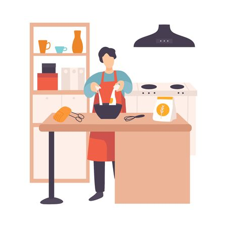 Man breaks an egg in a bowl in a modern kitchen. Vector illustration.