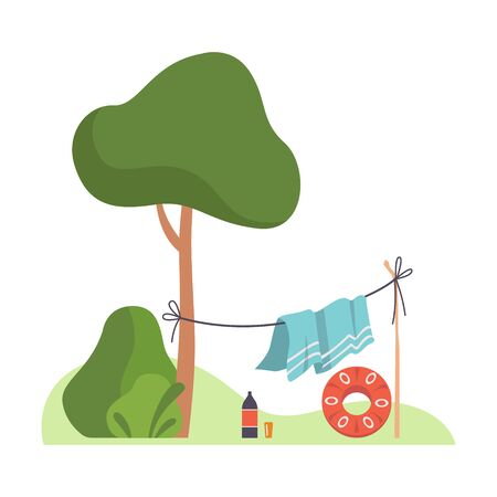 Blanket is dried on a rope near a tree. Vector illustration.
