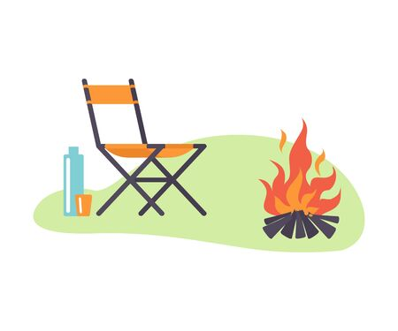 Chair next to a bonfire in a clearing. Vector illustration.
