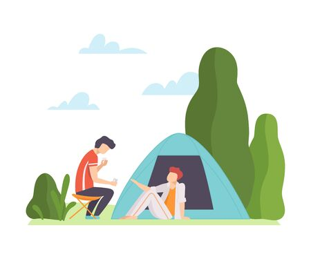 Two men are drinking near the tent. Vector illustration.