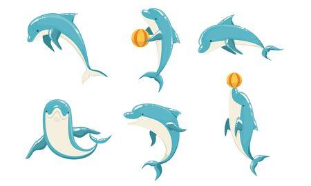 Funny Blue Dolphins Set, Cute Ocean Mammals Performing Tricks Vector Illustration Illustration