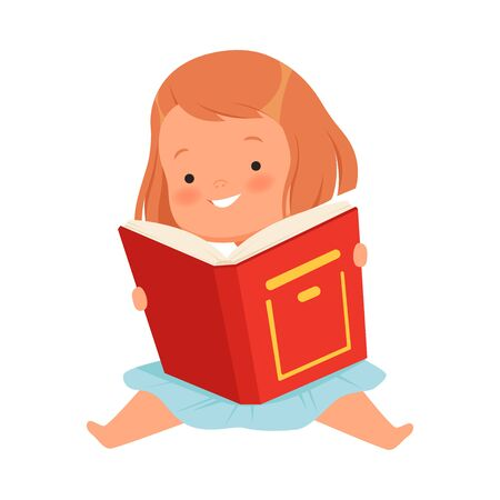 Toddler girl sitting holding an open book with a red cover. Vector illustration on a white background.