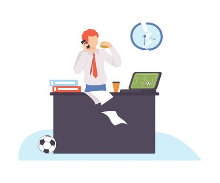 Man stands near the table, talks on the phone and eats a sandwich. Broken clocks hang from above. Laptop, folder and and paper on the table. Vector illustration.