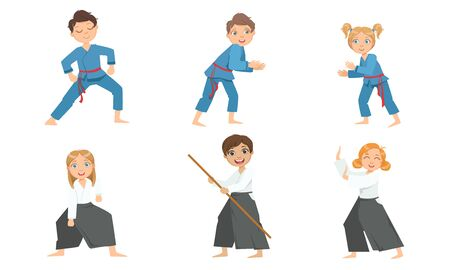 Cute Boy and Girls Doing Aikido and Judo in Uniform, Children Practicing Martial Arts Vector Illustration on White Background. Иллюстрация