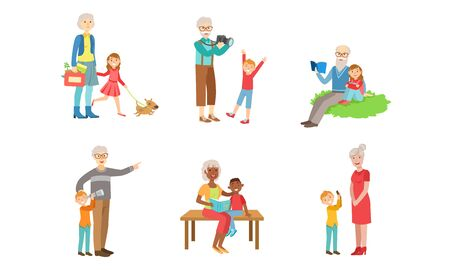 Grandparents Spending Time with Grandchildren Set, Grandfather and Grandmother Playing, Walking, Reading Books with their Grandsons and Granddaughters Vector Illustration