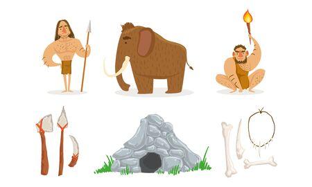 Prehistoric Stone Age Set, Primitive People, Mammoth, Weapon, Stone Cave Vector Illustration