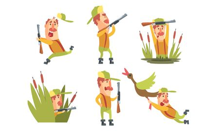 Collection of Funny Hunter Cartoon Character in Different Situations Vector Illustration Illustration