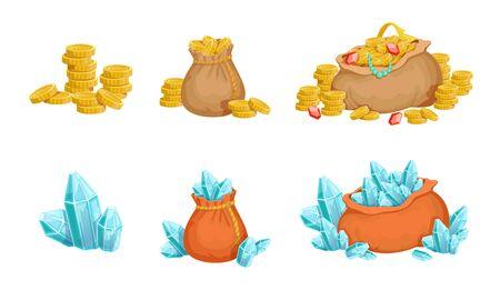 Sacs avec cristaux et pièces d'or, éléments de trésor pour les actifs de l'interface utilisateur du jeu Illustration vectorielle