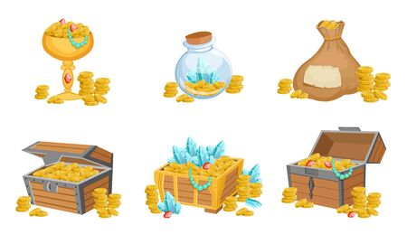Precious Treasures Set, Crystals, Gems and Golden Coins in Chest, Sack, Goblet, Game User Interface Assets Vector Illustration
