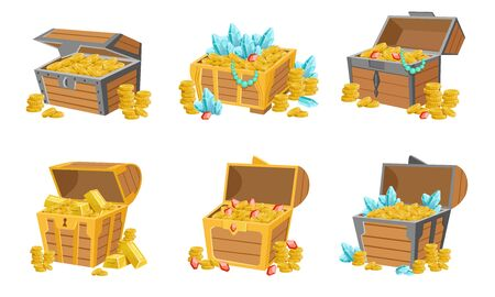 Precious Treasures Set, Crystals, Gems and Golden Coins in Wooden Chests, Game User Interface Assets Vector Illustration
