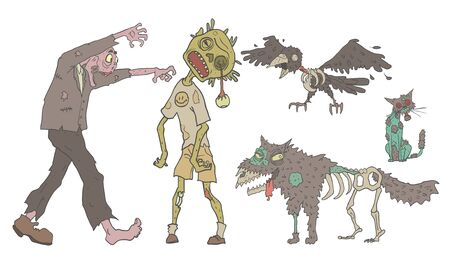 Zombies Set, Decaying Undead People and Animals, Zombie Apocalypse Vector Illustration on White Background.