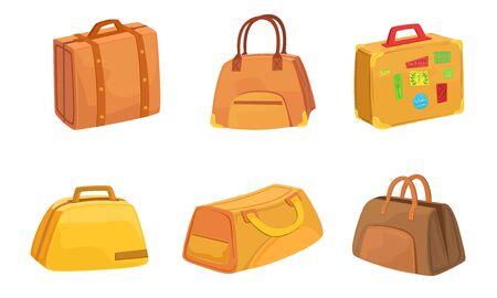 白い背景に旅行ベクターイラストのためのスーツケースセット、レザーバッグのコレクション。