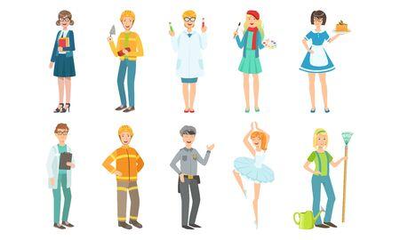 People of Different Professions Set, Teacher, Builder, Scientist, Artist, Doctor, Fireman, Policeman, Ballerina, Gardener Vector Illustration on White Background. Illustration